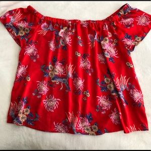Forever 21 Tops - Forever21 Red Flora Off-shoulder top Plus Size